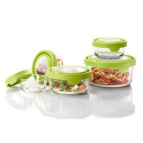 glass; storage; containers; 10 piece; set; bake; serve; store; kitchen; nesting; green; seal