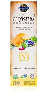 mykind organics vegan D3 spray plant omegas