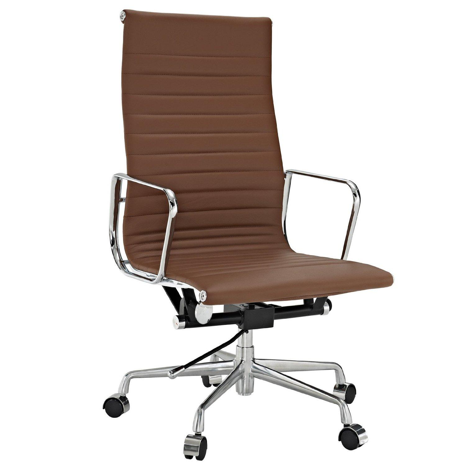 Amazon Modway Ribbed High Back fice Chair in Brown Genuine