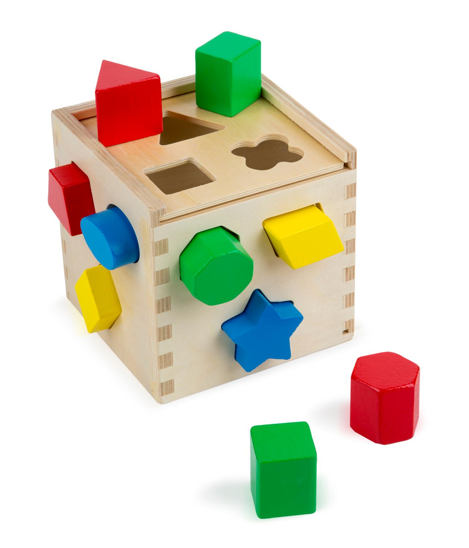 Melissa & Doug Shape Sorting Cube Classic Wooden Pre School Toy