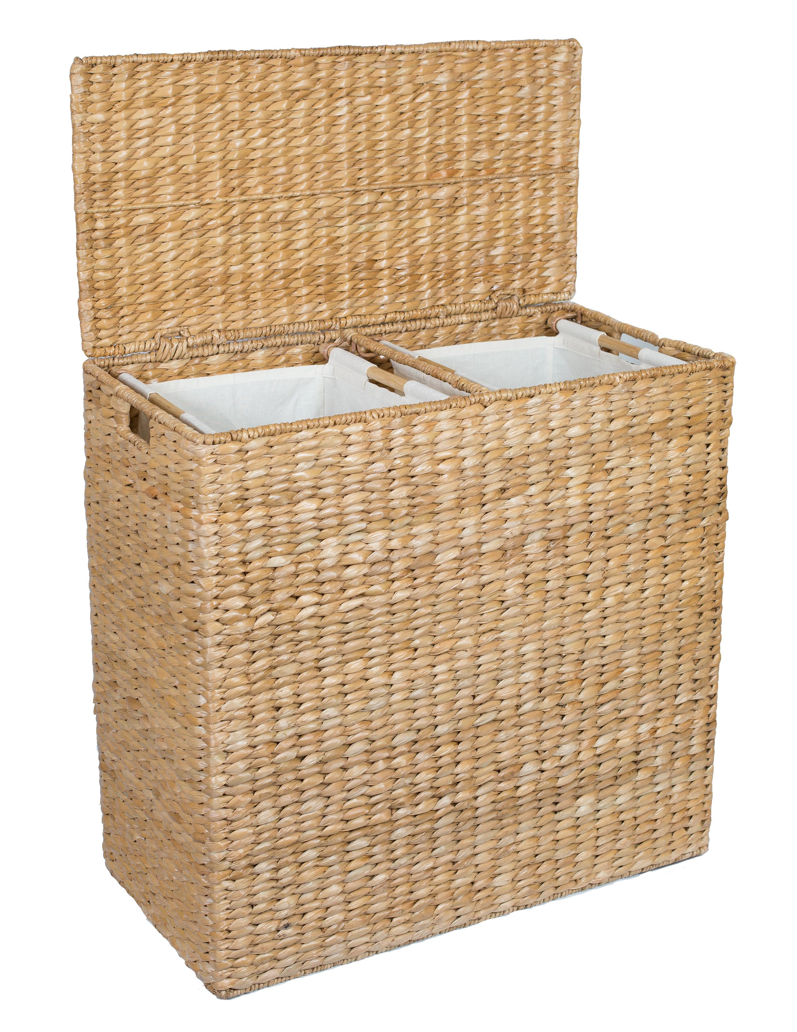 Birdrock home oversized divided hamper with liners honey made of natural woven - Wicker hamper with liner ...