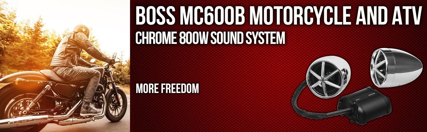 BOSS MC600B 800 Watt Bluetooth Handlebar Speakers+Amplifier For ATV//Motorcycle