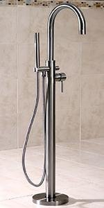 Floor mounted tub filler faucet