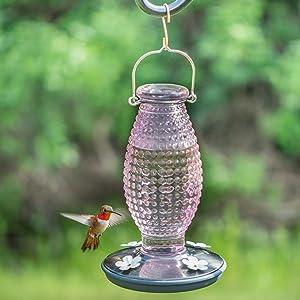 Perky Pet Cranberry Hobnail Vintage Glass Hummingbird Feeder