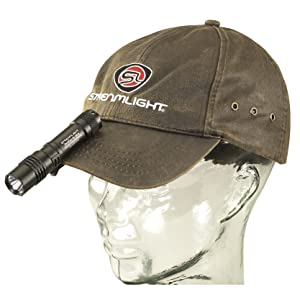 Streamlight 88061 ProTac 1L-1AA Dual Fuel Tactical Light clipped to ball cap.