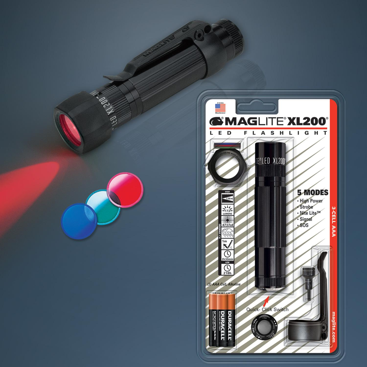 Maglite Xl200 Led 3 Cell Aaa Flashlight Red Basic