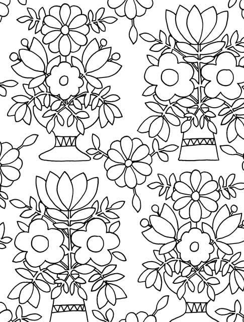 Just add color folk art 30 original illustrations to for Folk art coloring pages