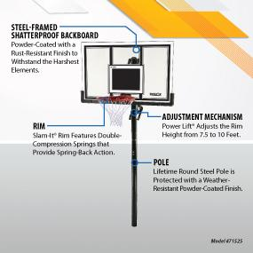 Lifetime 71525 Height Adjustable In Ground Basketball System features