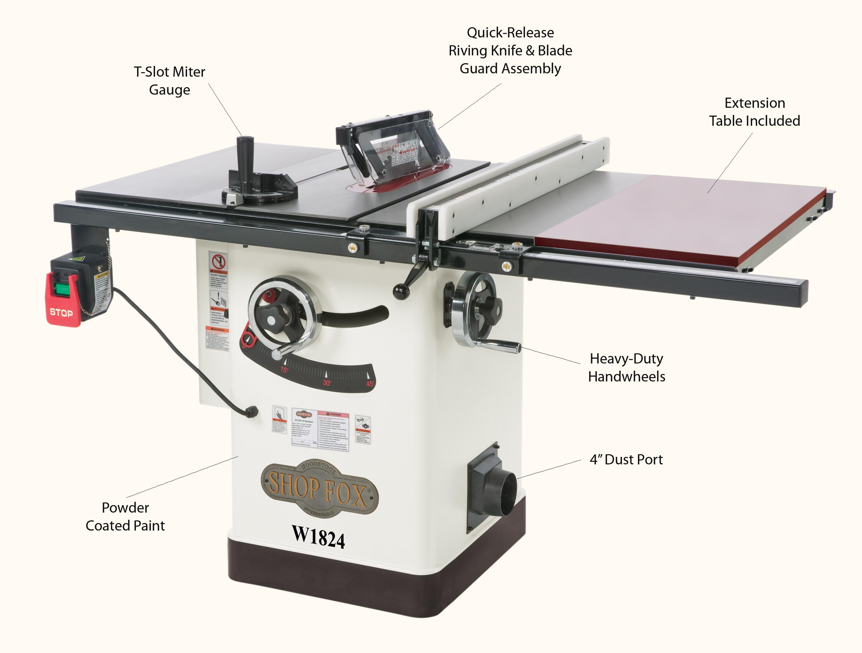 Shop fox w1824 hybrid table saw with extension table power table view larger greentooth