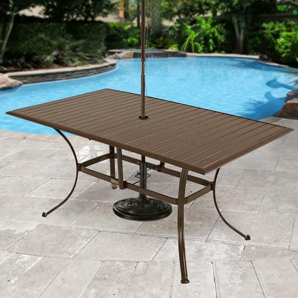 Panama jack outdoor island breeze slatted - Aluminium picnic table with umbrella ...