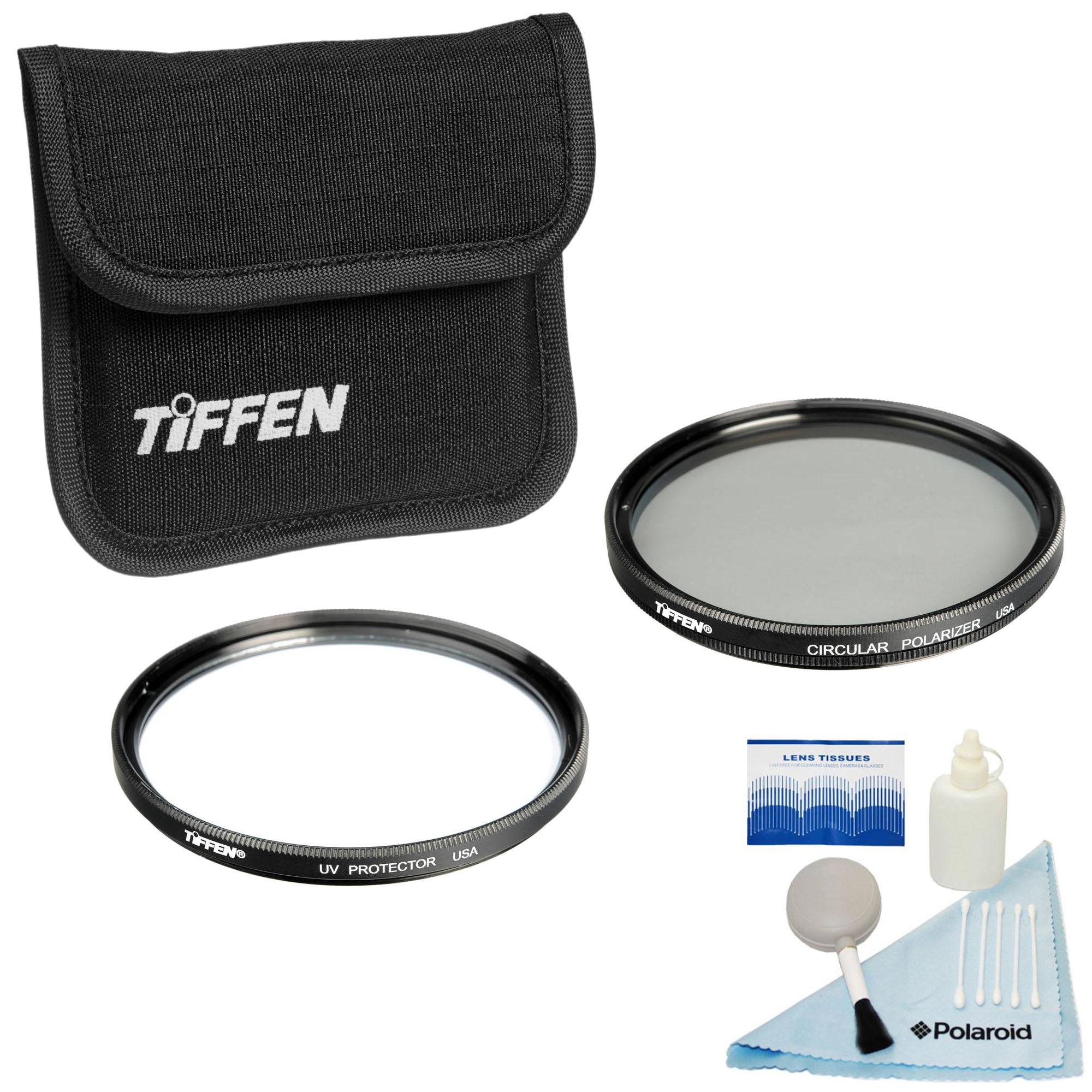 Sony and All Auto-Focus SLR Cameras UV Protection and Circular Polarizing Filter for Camera Tiffen 77mm Photo Twin Pack Free 5 Piece Camera Cleaning Kit Nikon Work with Canon