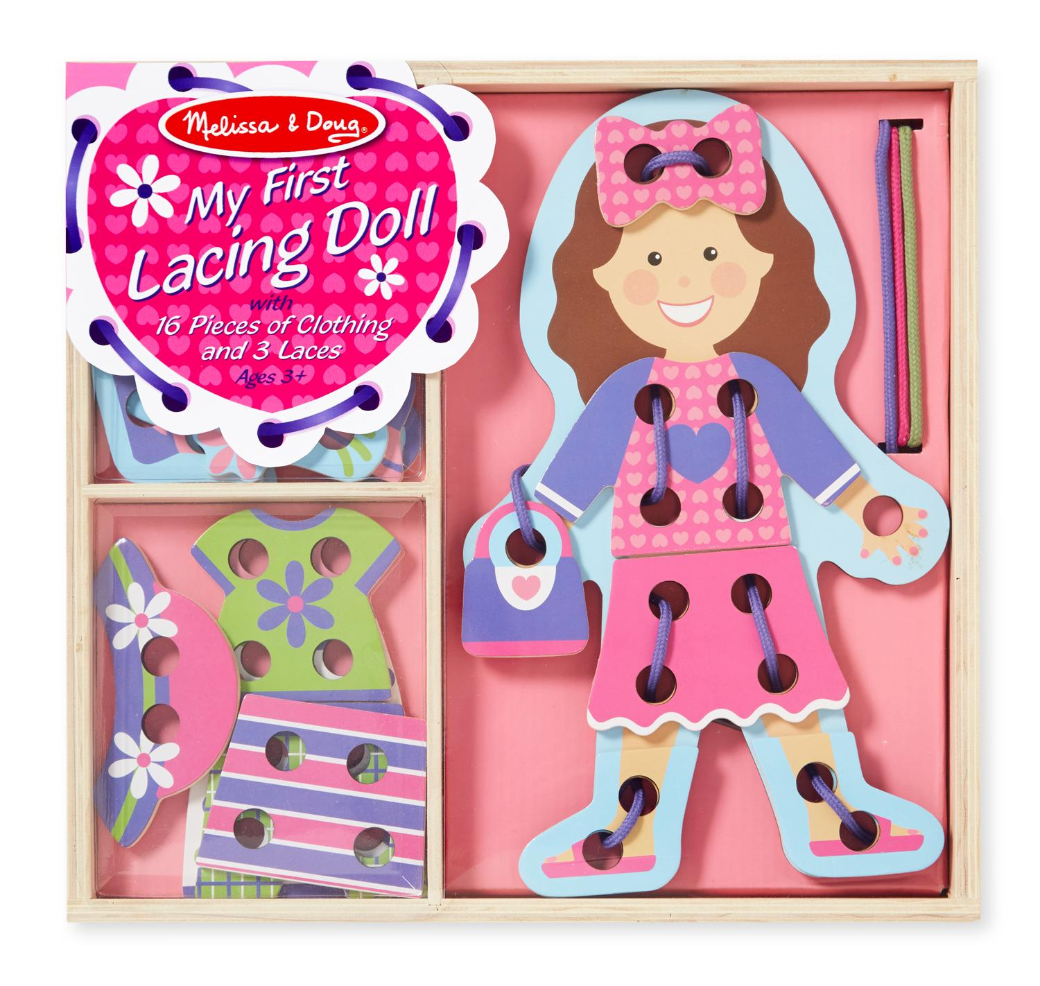 Amazon.com: Melissa & Doug My First Lacing Doll With 16 Pieces of ...