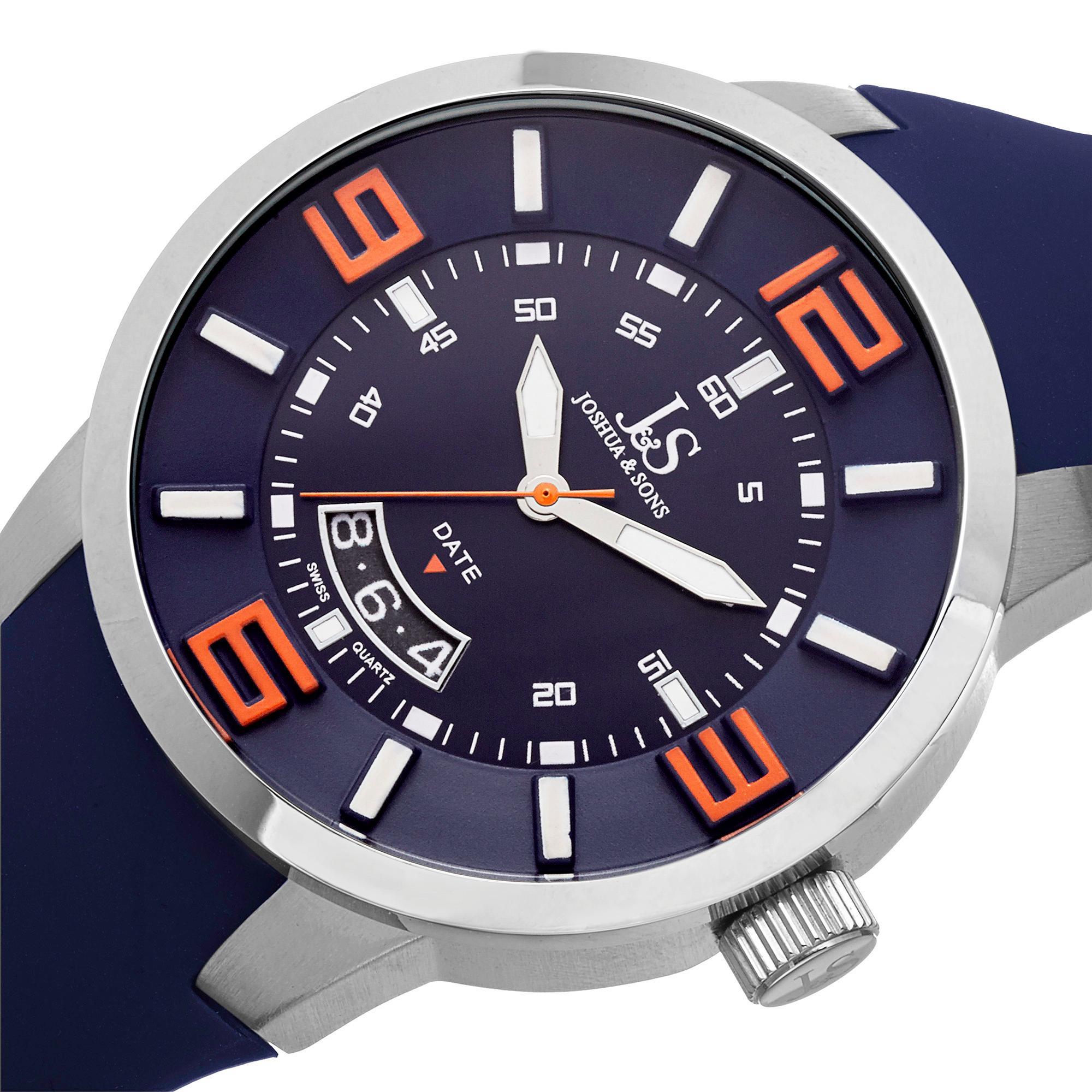 Amazon.com: Joshua & Sons Men's JS64BU Silver Swiss Quartz Watch with