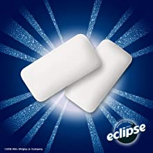 The full line of Eclipse Flavors: two chews of winterfrost chewing gum