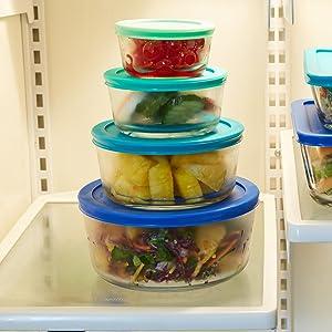 anchor hocking; glass; glassware; food storage; plastic lids; round; blue lids; stackable;
