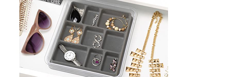 container, organize, jewelry, clear, earring, ring, necklace, drawer, interdesign, DIY, stack