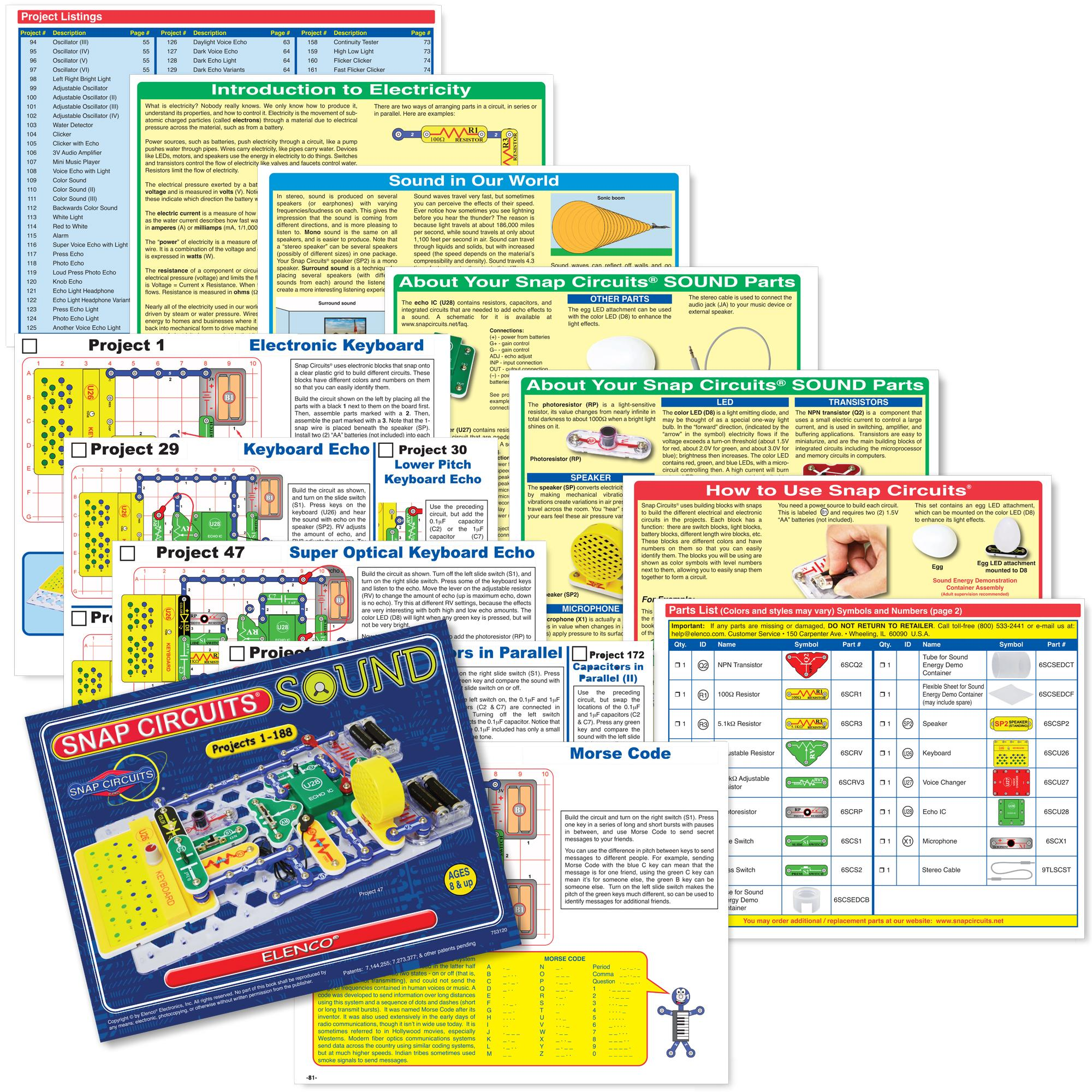 Snap Circuits Beginner Manual Everything About Wiring Diagram Elenco Scl 175 Light Kids Learn Electronic Projects Amazon Com Sound Electronics Discovery Kit Green Instruction