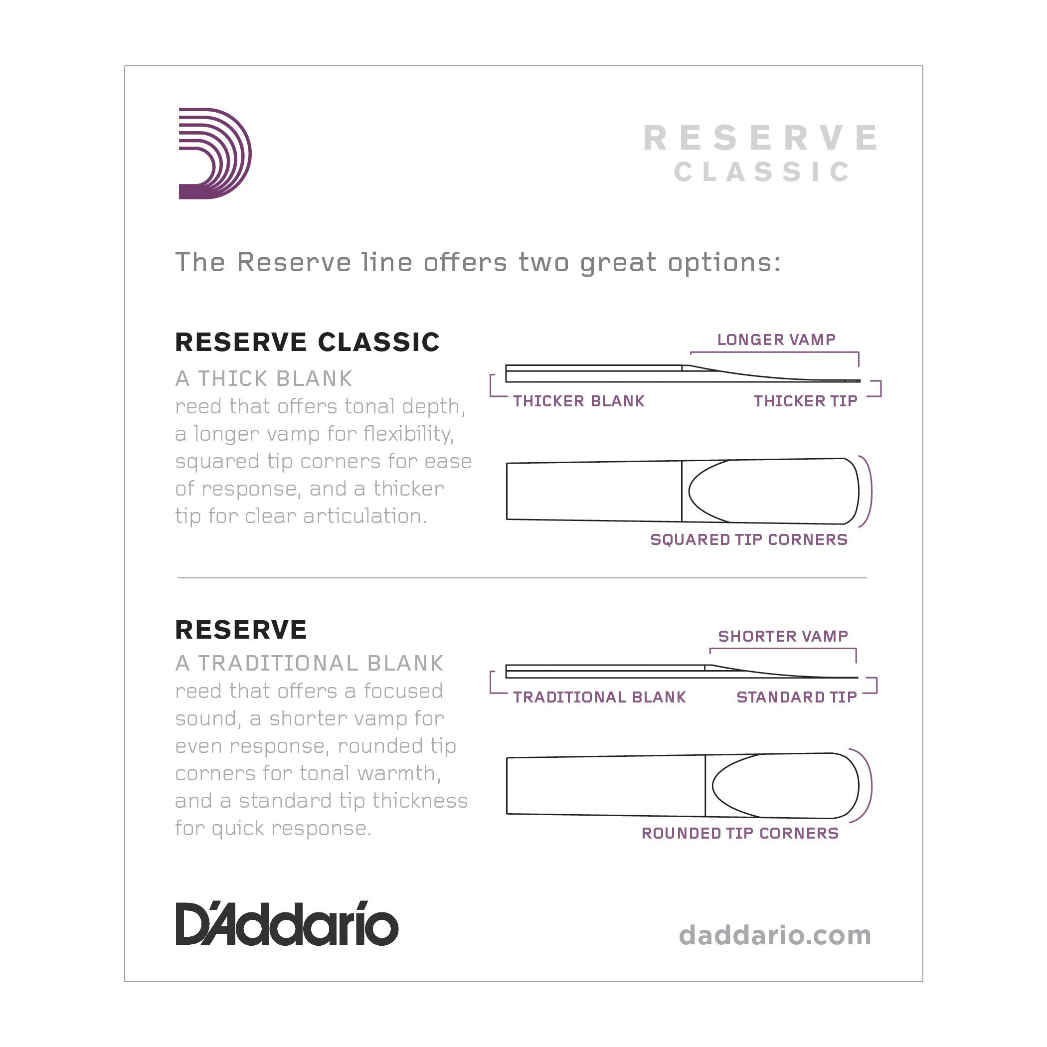 Amazon.com: D'Addario Reserve Classic Bb Clarinet Reeds, Strength ...