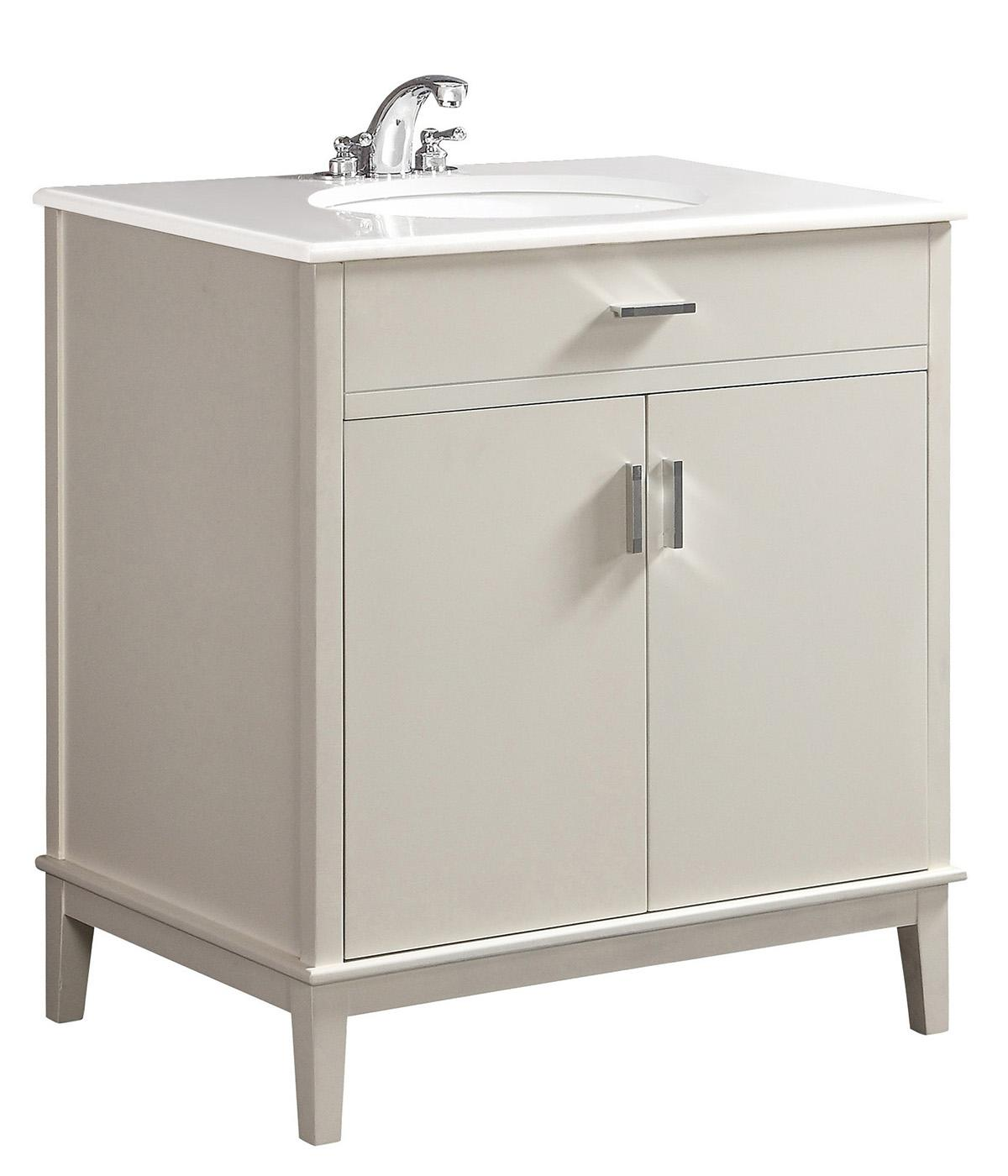 Simpli home urban loft 30 bath vanity with quartz marble for Bathroom cabinets urban ladder