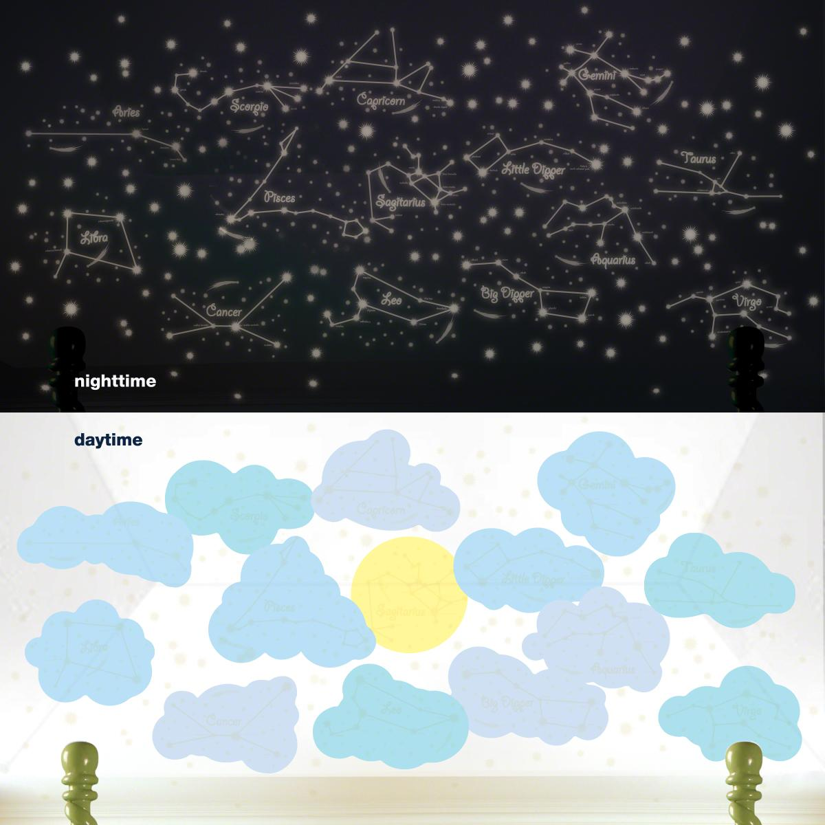 amazon com wallcandy arts wall decal sunny day and starry night view larger