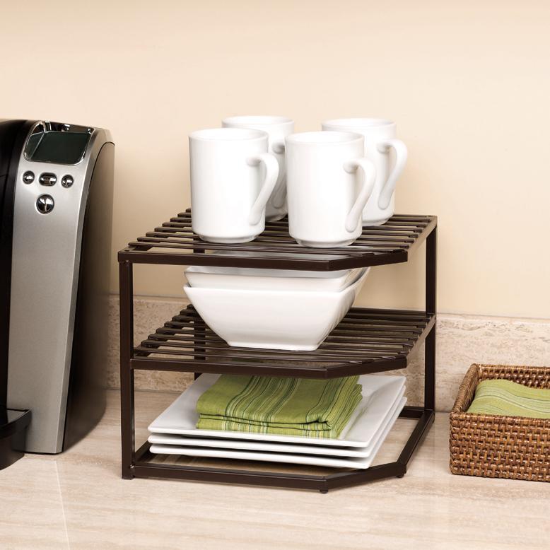 Amazon Com Seville Classics 2 Tier Corner Shelf Counter