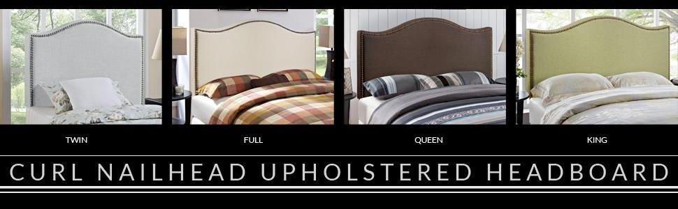 Upholstered, Nailhead, Headboard, Bed, Twin, King, Queen, Single, Zinus, DHP, Full, Padded