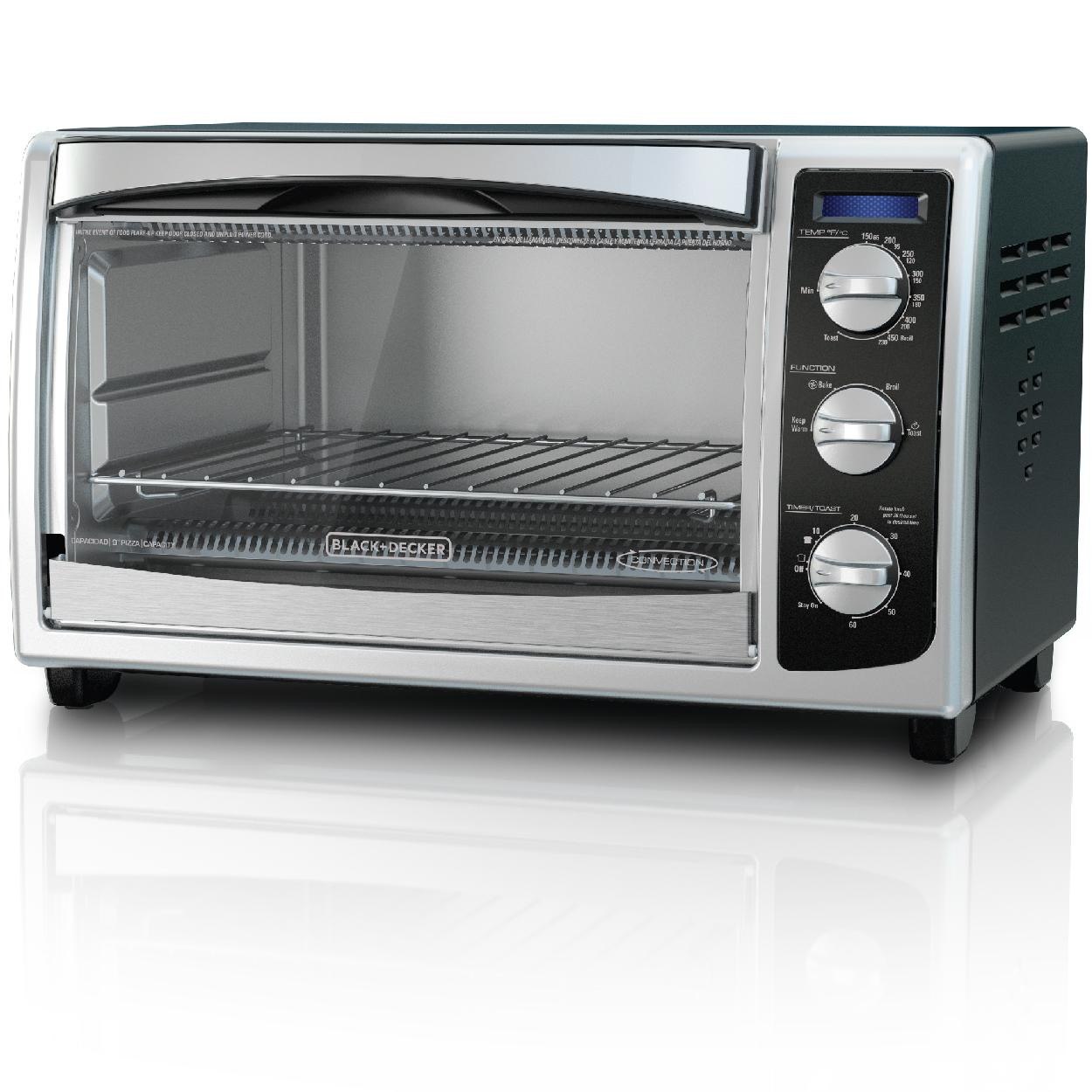 black decker to1675b 6 slice convection countertop toaster oven includes bake. Black Bedroom Furniture Sets. Home Design Ideas