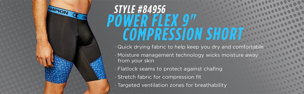 023f3e0548d8 Amazon.com  Champion Men s Power Flex Compression Short 9 Inch  Clothing