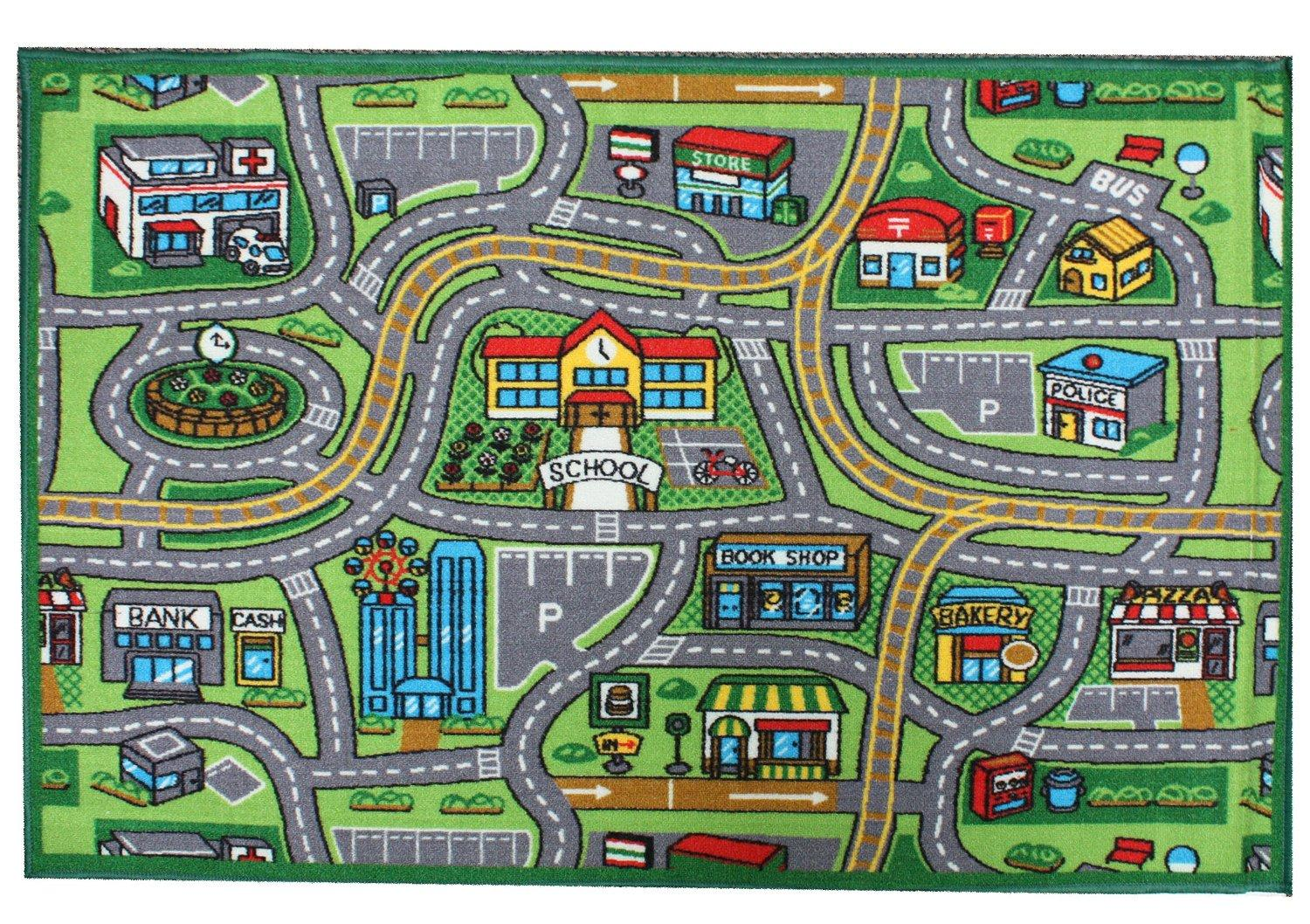 j m home fashions kids play rug educational rug street map 40 by 60 home. Black Bedroom Furniture Sets. Home Design Ideas