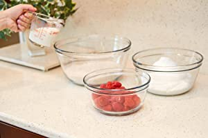 anchor hocking; glass; glassware; mixing bowl set; mix; prep;three sizes; stable rim