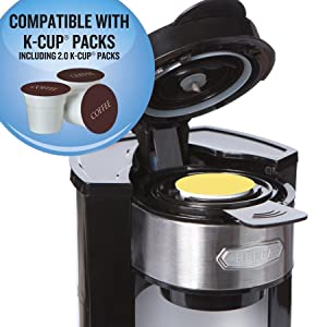 Dual Coffee Maker With K Cup : Amazon.com: BELLA Dual Brew Single Serve Personal Coffee Maker, K Cup, K cup 2.0 and ground ...
