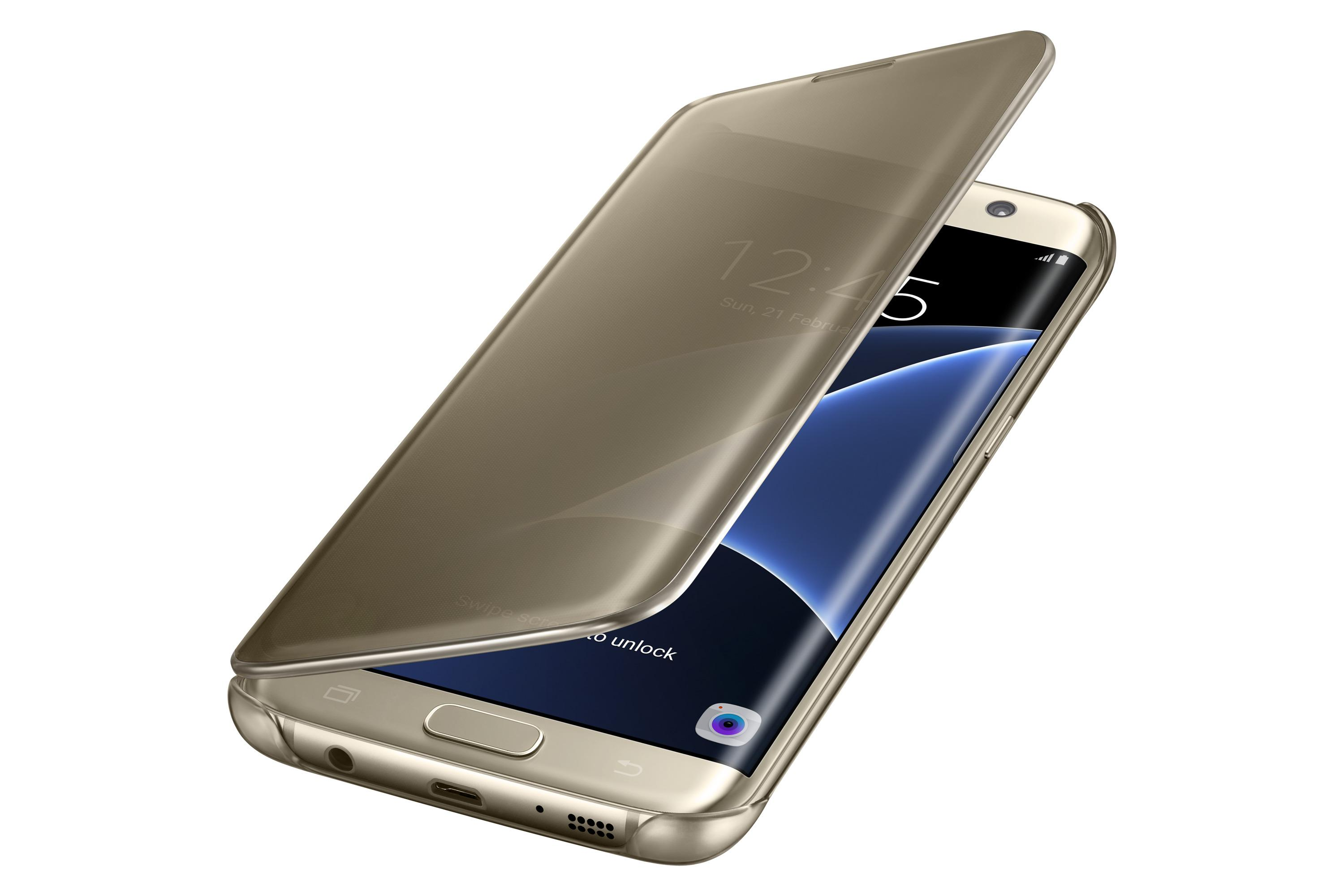 ... S7 edge Case S-View Clear Flip Cover - Gold: Cell Phones u0026 Accessories