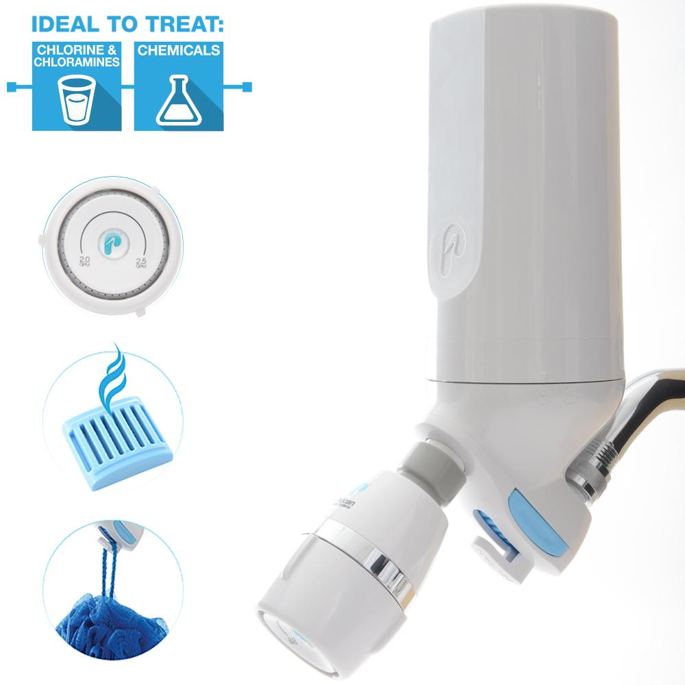 pelican water psf 1 3 stage premium shower filter with shower head white ebay. Black Bedroom Furniture Sets. Home Design Ideas