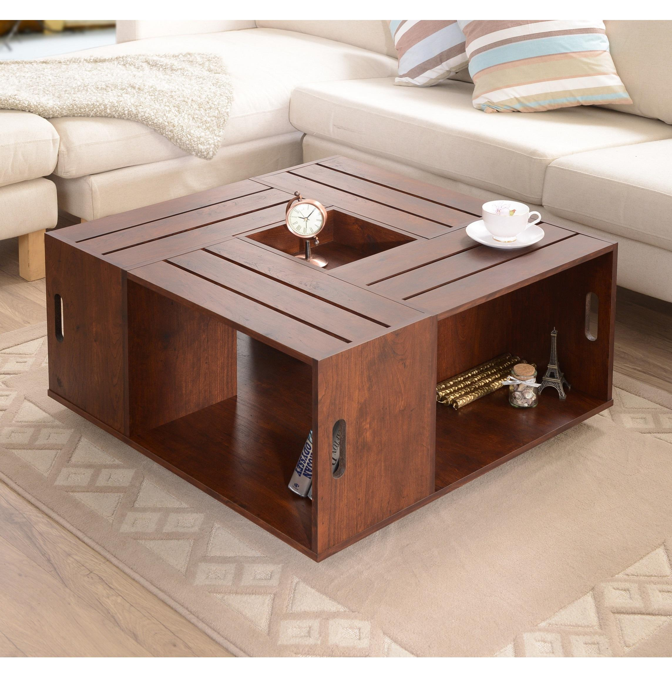 Iohomes Trenton Crate Coffee Table Vintage Walnut Kitchen Dining
