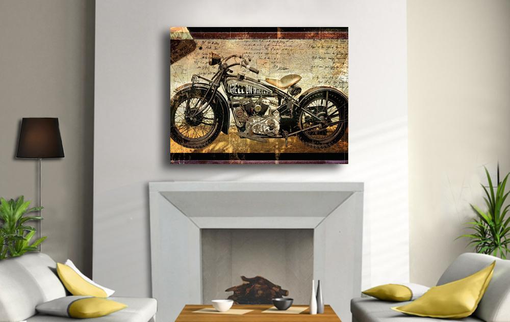 Motorcycle Cycle Painting 39 Canvas Art Decor Harley Davidson Chopper