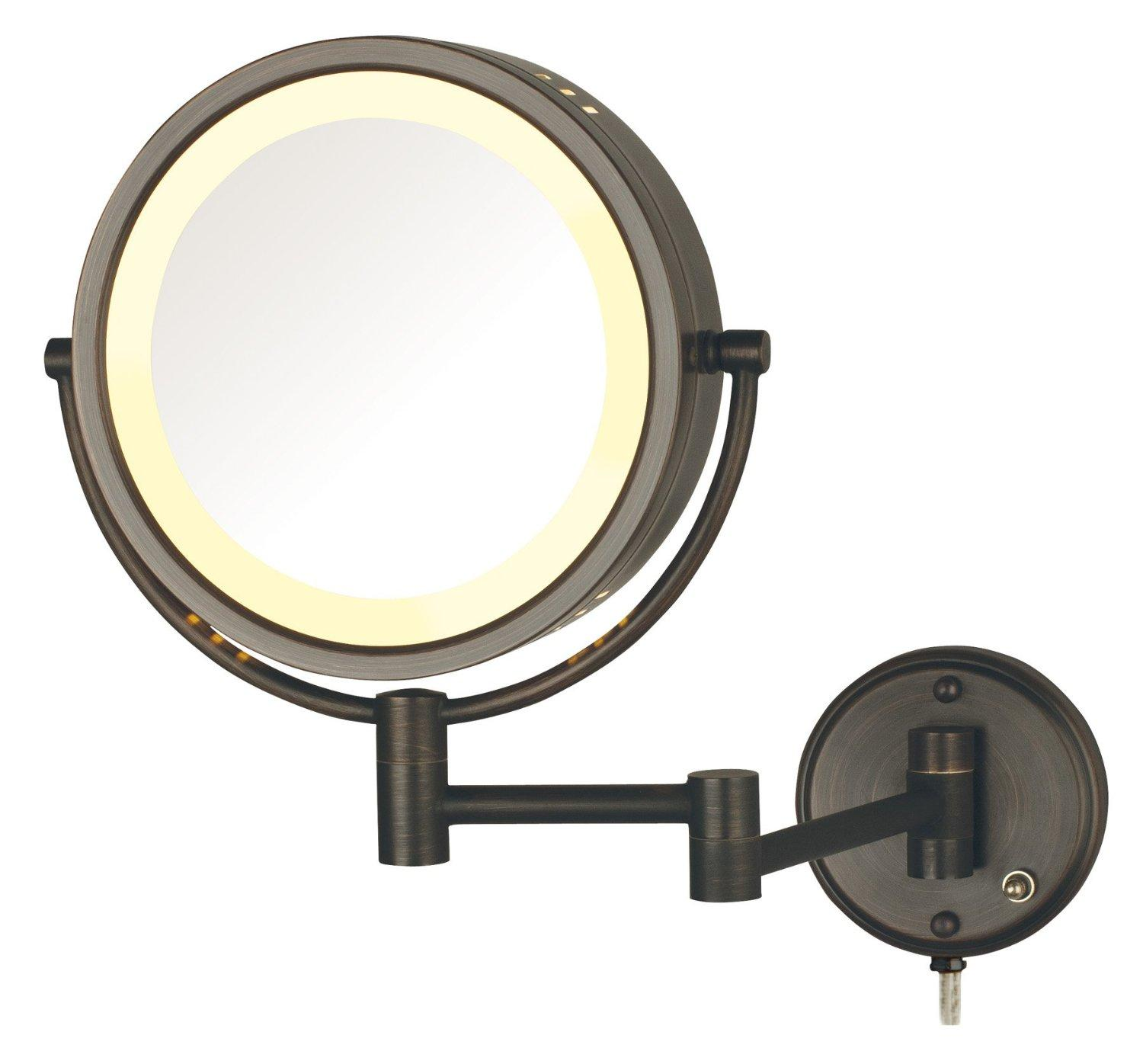 jerdon hl75bz 8 5 inch lighted wall mount makeup mirror with 8x magnification. Black Bedroom Furniture Sets. Home Design Ideas