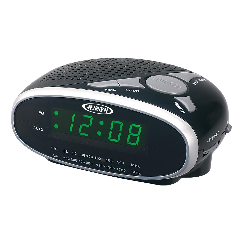 jensen jcr175 am fm alarm clock radio with 0 9. Black Bedroom Furniture Sets. Home Design Ideas