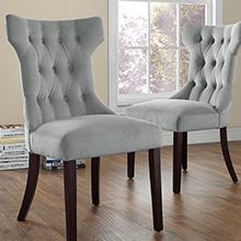 Dorel Living Clairborne Tufted Dining Chair Platinum Color