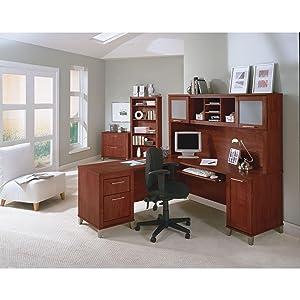 Amazoncom Somerset 71W L Shaped Desk with Hutch in Hansen Cherry