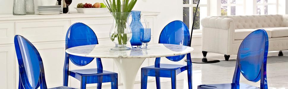 Amazon.com: LexMod Casper silla de comedor, Plástico, Azul ...