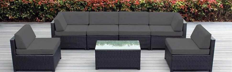 Amazon Ohana Mezzo 7 Piece Outdoor Wicker Patio Furniture Sectional Conv