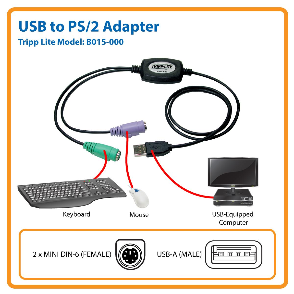 amazon com  tripp lite usb to ps  2 adapter