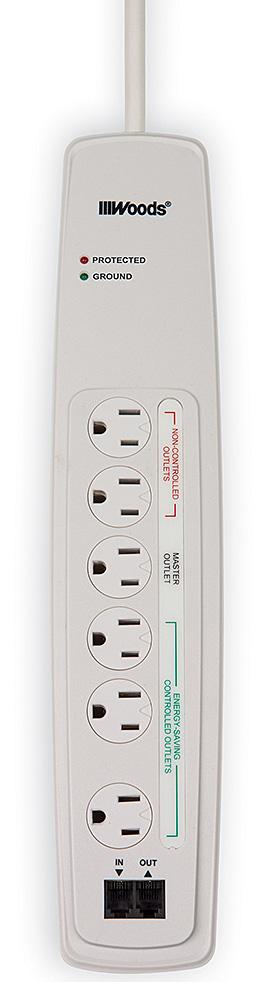 6-Feet Cord Woods Wire 0417077810 Woods 041707 7-Outlet Electronics Energy-Saving Surge Protectors White