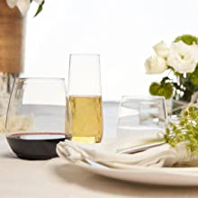 flutes wine recyclable disposable shatterproof portable upscale Taza Ridel Govino stackable stemless