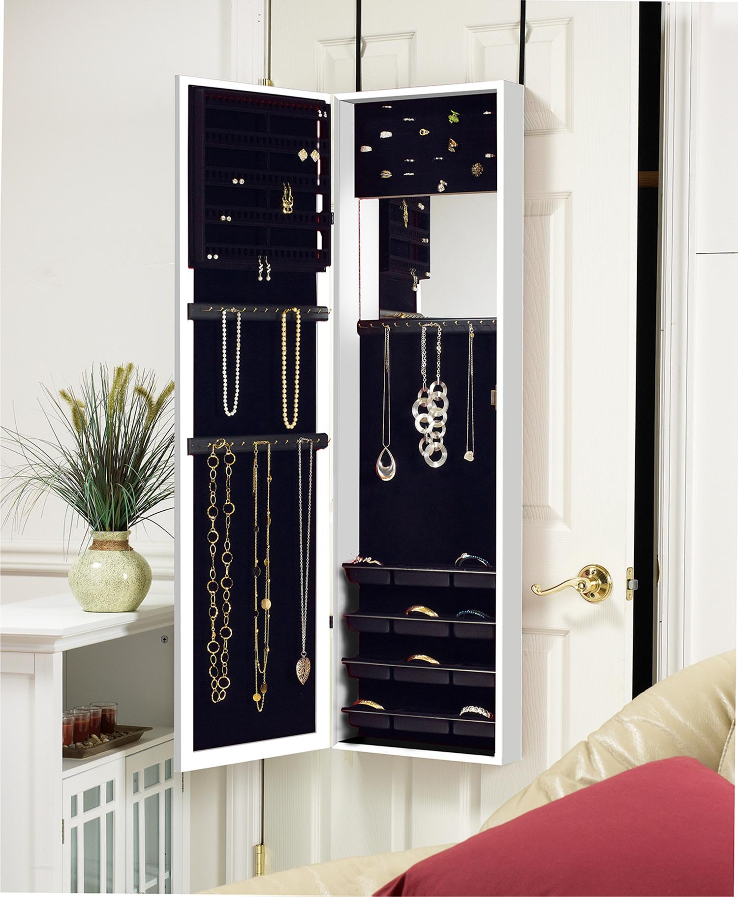 plaza astoria wall door mount jewelry armoire white home kitchen. Black Bedroom Furniture Sets. Home Design Ideas