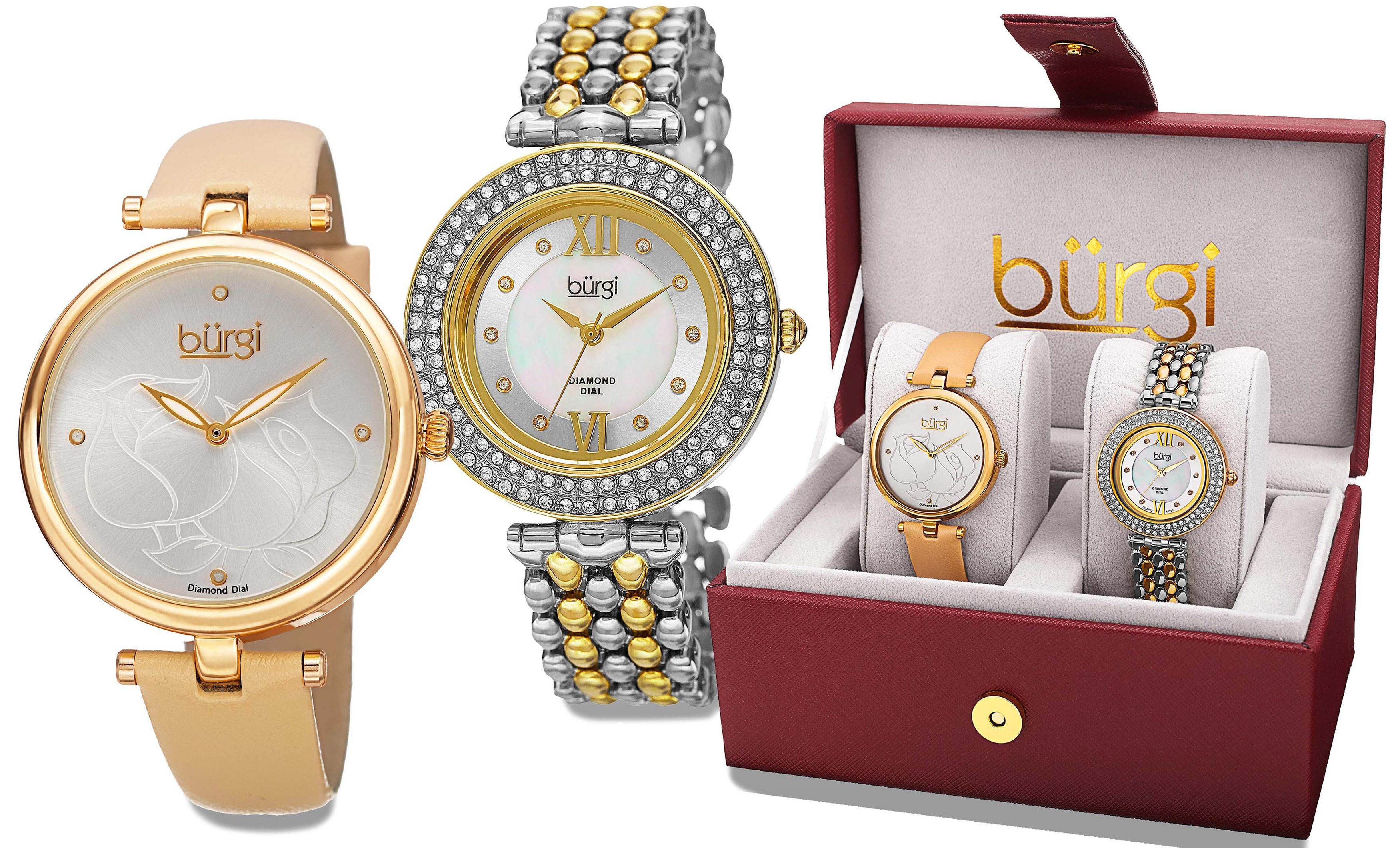 Amazon Com Burgi Women S Bur152yg Silver Quartz Watch Set