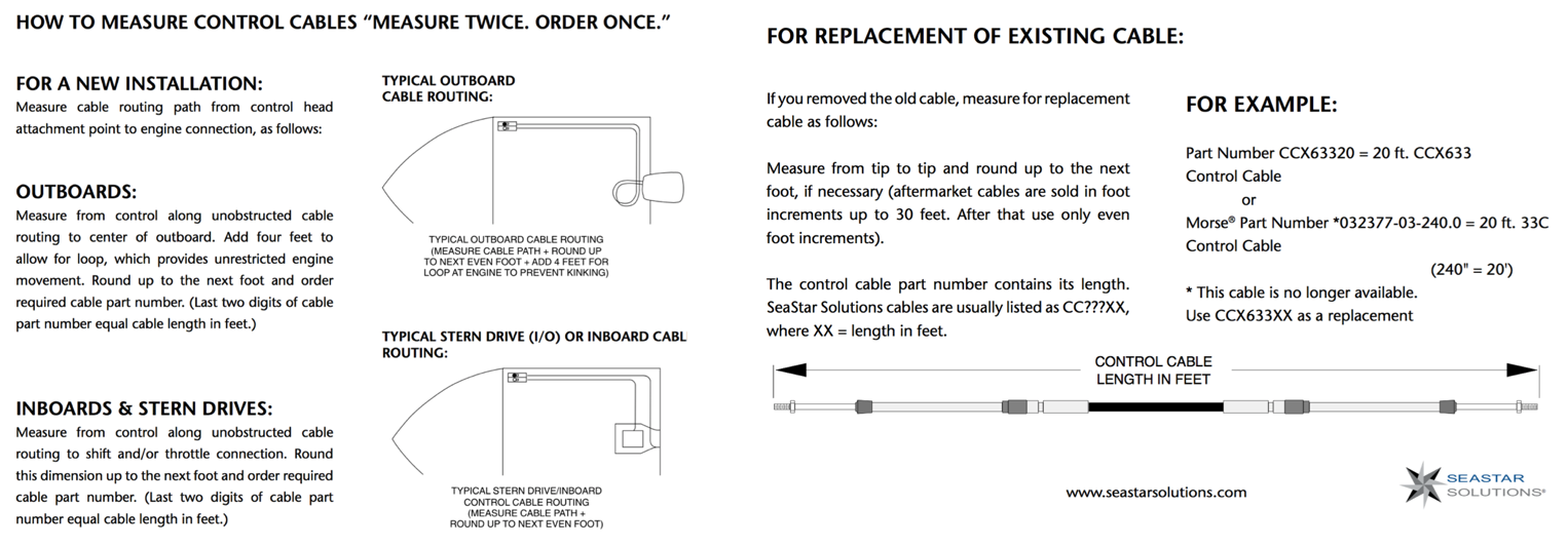 Seastar Ccx179xx Xtreme Mercury 600a Type Control Cable Typical Inboard Wiring Diagrams View Larger