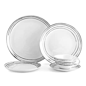 Platinum plate sets, metal plates, mikasa platinum, dinnerware