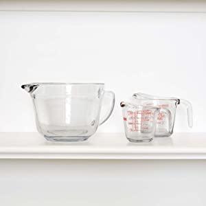 anchor hocking; glassware; glass; batter bowl; ; measure; mix; easy grip handle