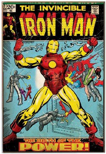 Silver Buffalo Mc5336 Marvel Comics Iron Man Wood Wall Decor 13 X19 Inches